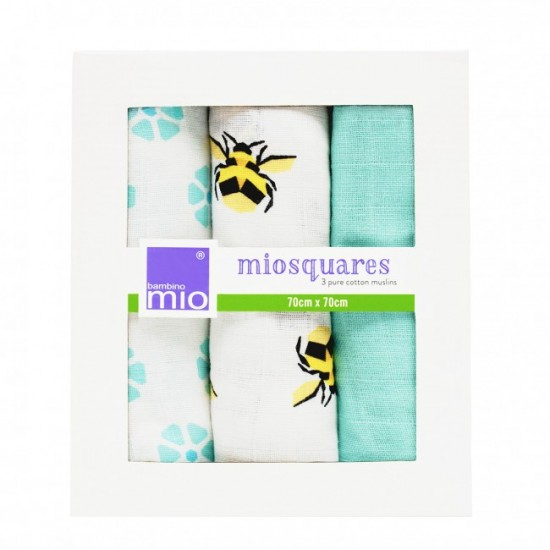 Miosquares - Bumble, set 3 paturici traditionale din muselina