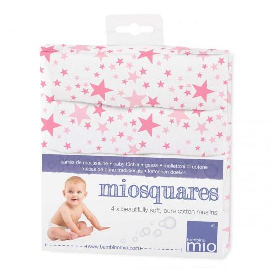 Păturici tradiționale muselină - Miosquares - Pink Stars - set 4 bucăți