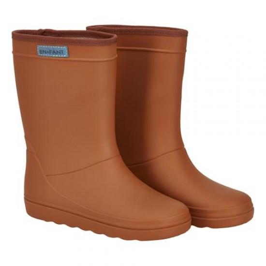 Cizme ultrausoare de ploaie pentru copii - En Fant - Leather Brown
