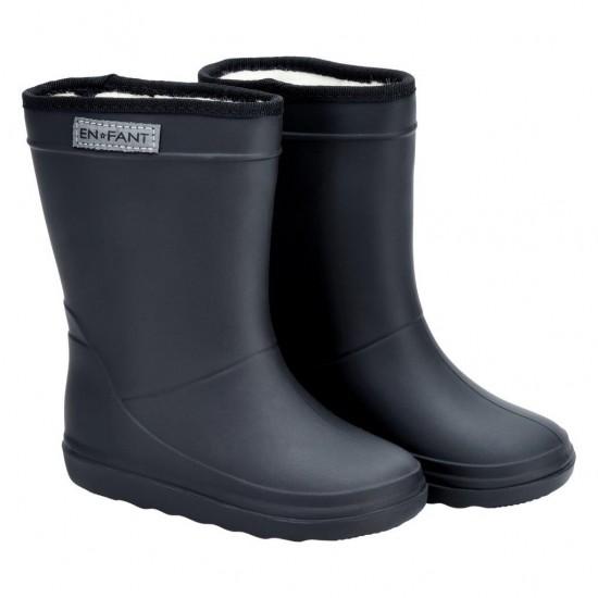 Midnight Black - Cizme de ploaie captusite pentru copii