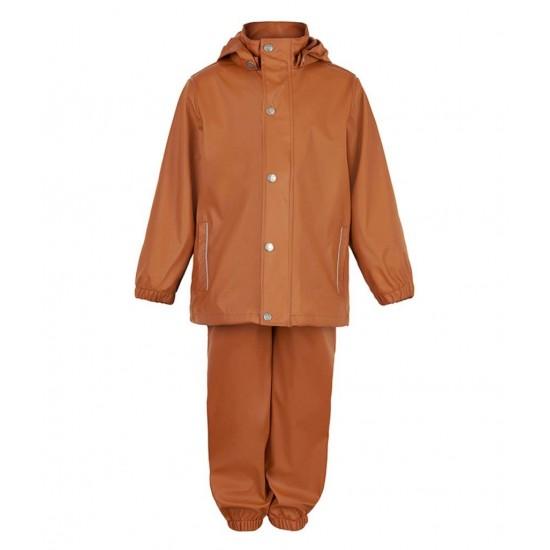 Set Leather Brown jacheta+pantaloni ploaie - En Fant