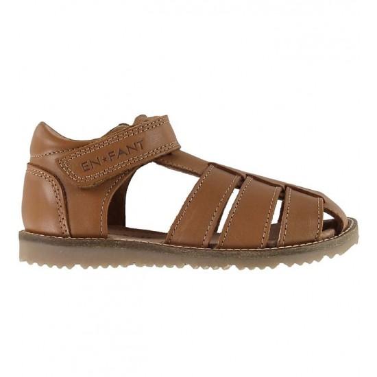 Sandale din piele cu inchidere velcro pentru copii - En Fant - Plain Big Camel