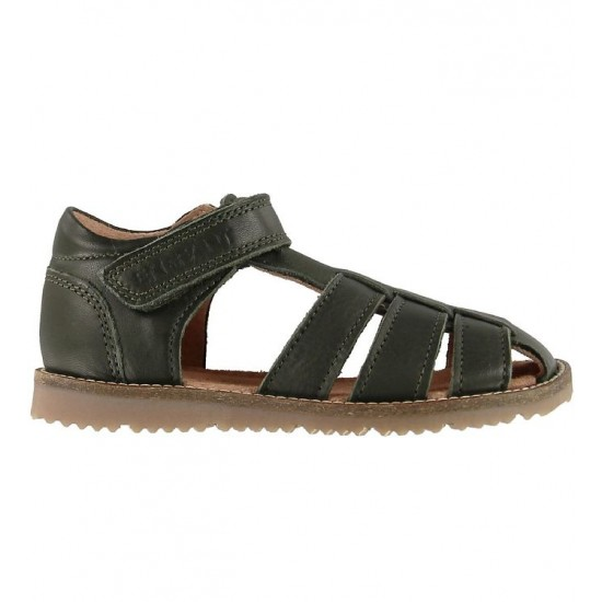 Plain Big Dark Green - Sandale din piele cu inchidere velcro pentru copii