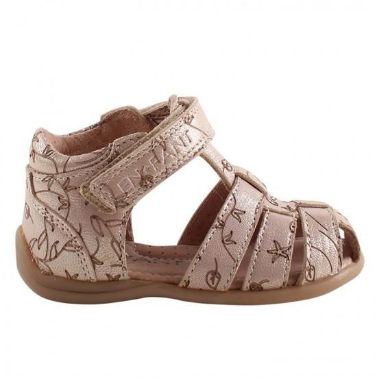 Plain Small Flower - Sandale din piele cu inchidere velcro pentru copii