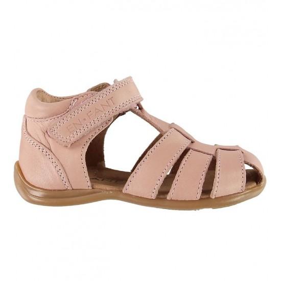 Sandale din piele cu inchidere velcro pentru copii - En Fant - Plain Small Rose