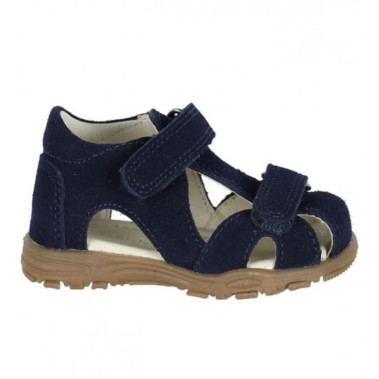 Sandale din piele cu inchidere velcro pentru copii - En Fant - Uranus Navy Suede