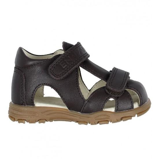 Sandale din piele cu inchidere velcro pentru copii - En Fant - Uranus Brown