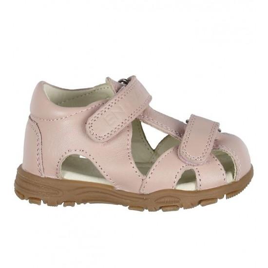 Sandale din piele cu inchidere velcro pentru copii - En Fant - Uranus Light Rose