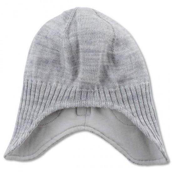 Caciula copii lana merinos tricotata superwash captusita cu bumbac - Nordic Label - Grey Melange