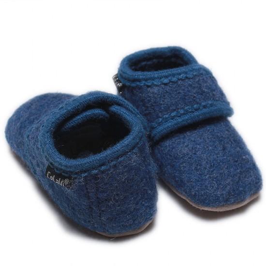 Botosei din lana merinos tumbled/boiled - CeLaVi - Blue Melange