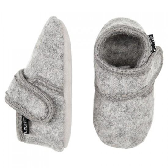 Grey Melange - Botosei din lana merinos tumbled/boiled