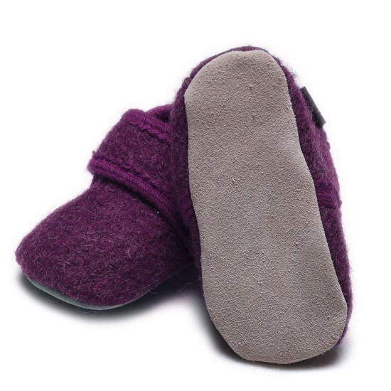 Botosei din lana merinos tumbled/boiled - CeLaVi - Deep Purple