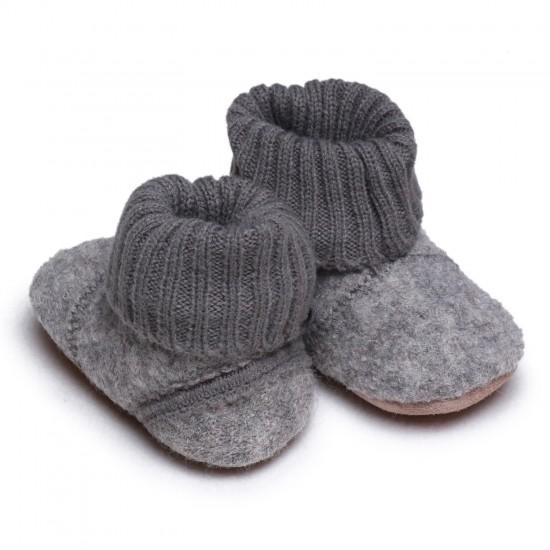 Botosei din lana merinos tumbled/boiled cu banda tricotata - CeLaVi - Grey Melange