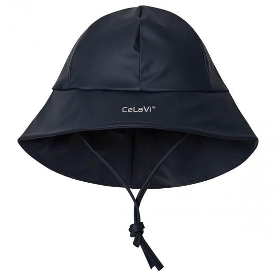 Palarie PU de ploaie si vreme rece, impermeabila, cu fleece - CeLaVi - Navy Ink