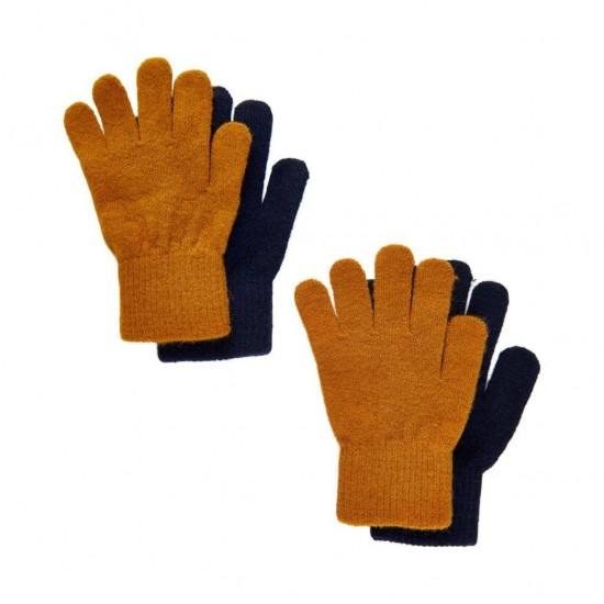 Pumpkin Spice/Black - Set 2 manusi tricotate cu lana merinos - CeLaVi