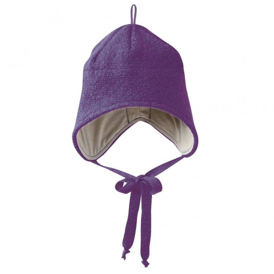 Caciulita din lana merino tumble/boiled - Disana - Plum