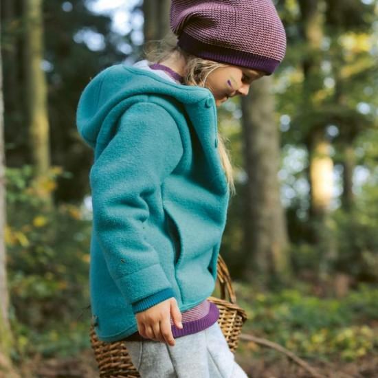 Jacheta din lana merinos organica - tumble/boiled wool - Disana - Lagoon
