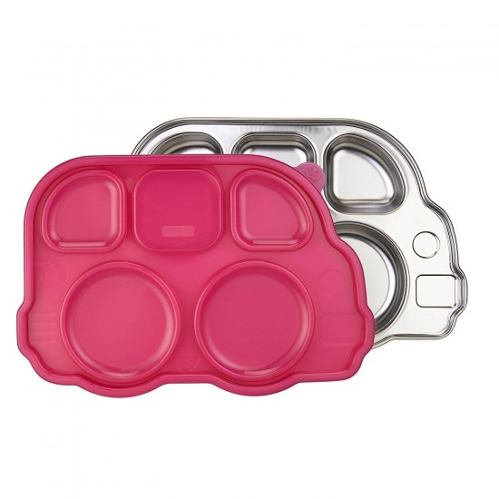 Tavita compartimentata cu capac - Din Din Smart Bus Platter - Innobaby - Pink