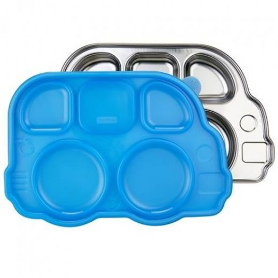 Tavita compartimentata cu capac - Din Din Smart Bus Platter - Innobaby - Blue