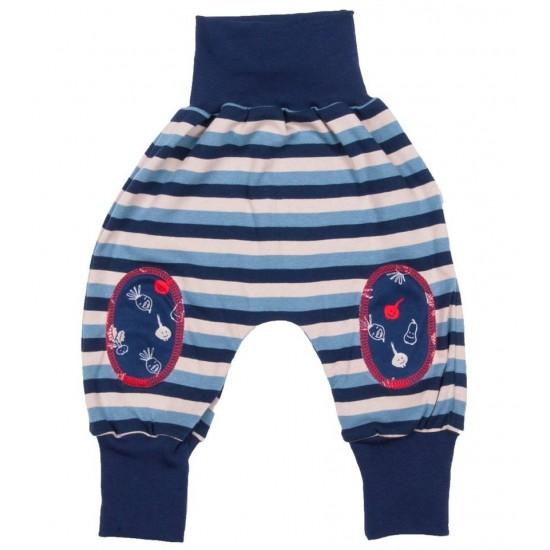 Pantaloni Salvari Joga din bumbac organic - Iobio - Stripped Blue