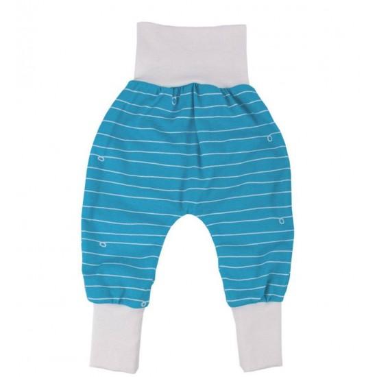 Pantaloni Salvari Joga din bumbac organic - Iobio - Blue White Wave