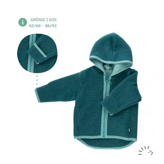 Jacheta din lana merinos organica fleece cu fermoar si buzunare - Iobio - Milo Emerald