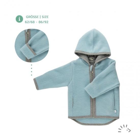 Jacheta din lana merinos organica fleece cu fermoar si buzunare - Iobio - Milo Celestial Blue