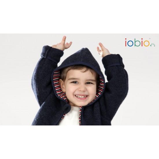 Jacheta din lana merinos organica - tumble/boiled wool - Iobio - Sapphire Blue
