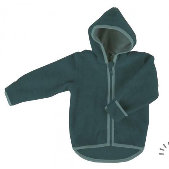 Jacheta din lana merinos organica - wool fleece - Iobio - Emerald