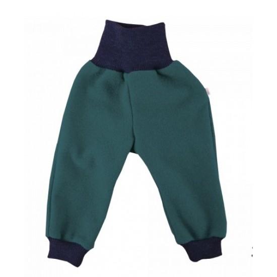 Pantaloni din lana merinos organica - tumble/boiled wool KbT - Iobio - Emerald