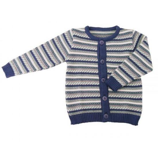 Cardigan din lana merinos impletita - Iobio - Limited Edition - Vintage Blue