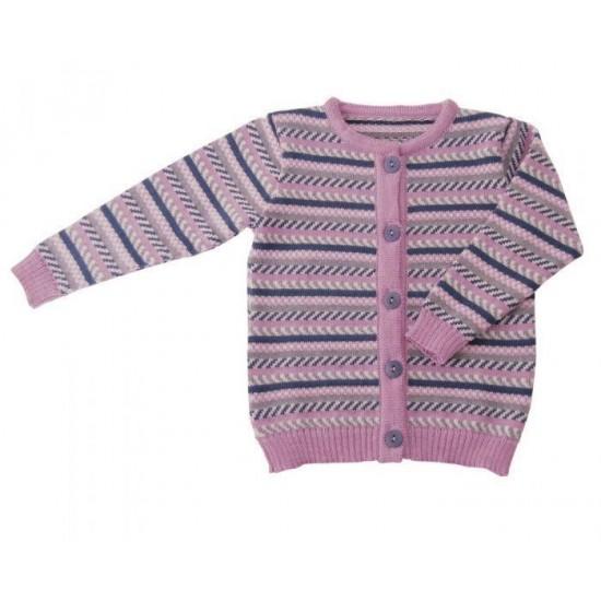 Cardigan din lana merinos tricotata - Iobio - Limited Edition - Vintage Rose