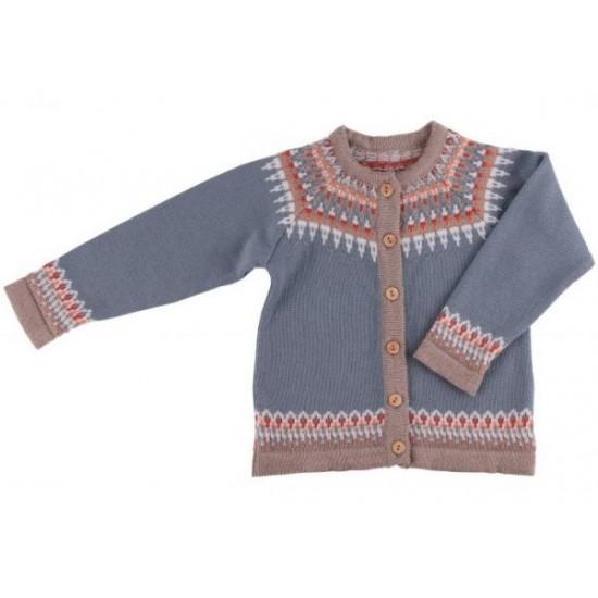 Cardigan din lana merinos impletita - Iobio - LILY - Grey-Blue