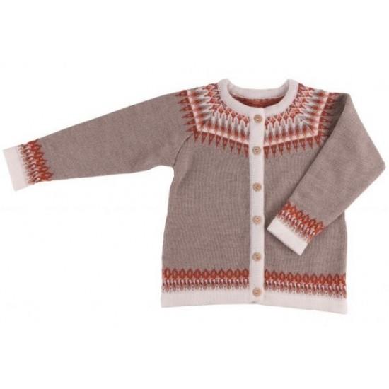 Cardigan din lana merinos impletita - Iobio - LILY - Beige Melange