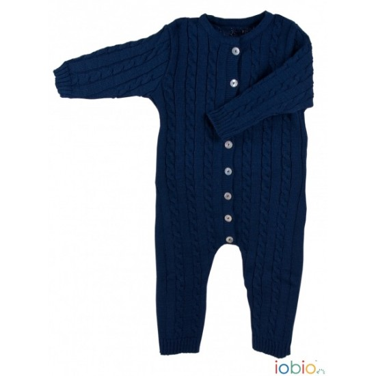 Salopeta - overall din lana merinos organica impletita - Iobio - Dark Blue