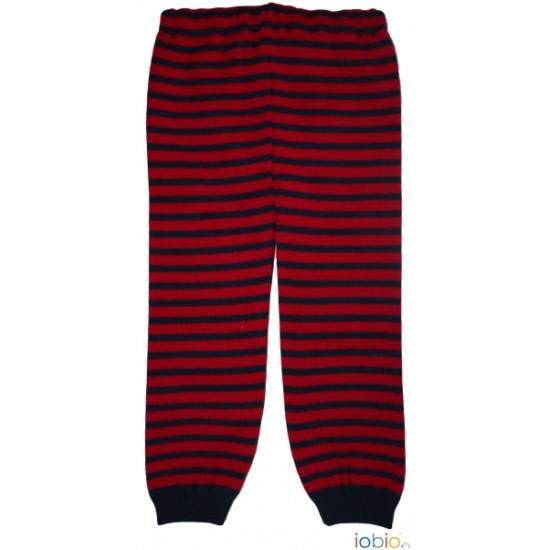Pantaloni leggings din lana merinos impletita - Iobio - Berry/Dark Blue