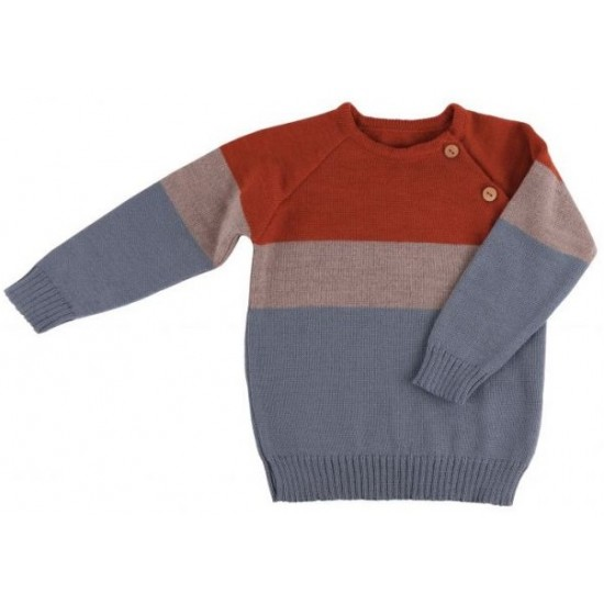 Pulover din lana merinos tricotata - Iobio - BEN - Rusty Orange