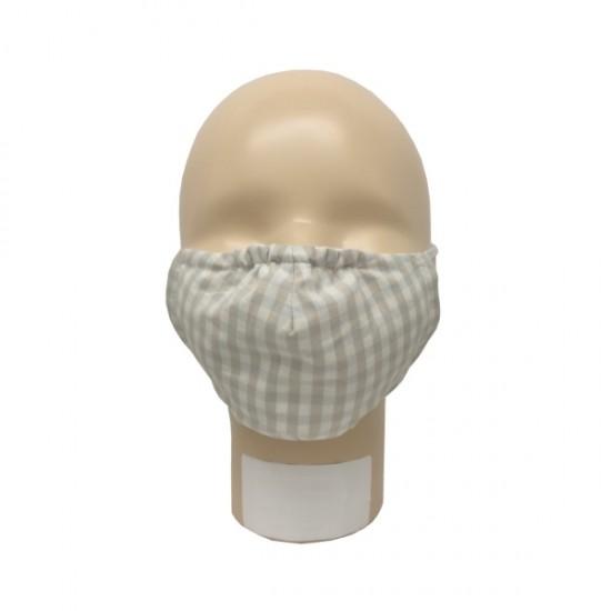 Masca pentru copii refolosibila, din bumbac organic, cu filtru - Iobio Popolini - Karo Sand Blue