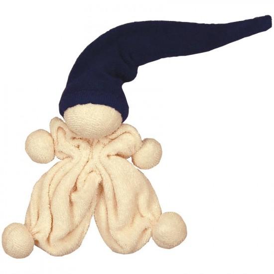 Jucarie zornaitoare textila din bumbac organic - Keptin Jr - Little Cozy Navy