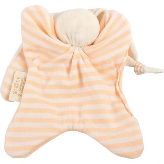 Jucarie zornaitoare textila din bumbac organic - Keptin Jr - Little Toddler Peach