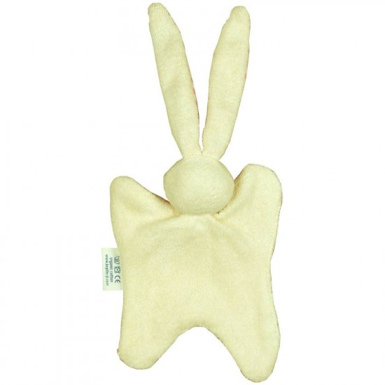 Jucarie zornaitoare textila din bumbac organic - Keptin Jr - Little Rabbit Pink