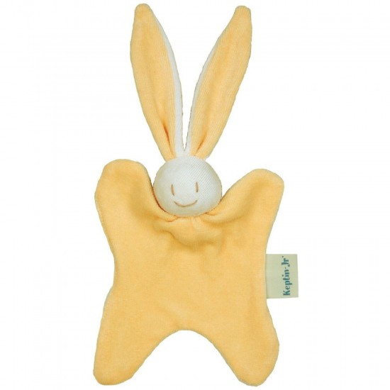 Jucarie zornaitoare textila din bumbac organic - Keptin Jr - Little Rabby Yellow