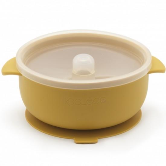 Set de masa silicon Curry - bol cu capac, ventuza si lingurita