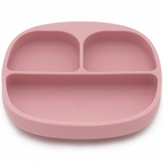 Set de masa silicon Blush - farfurie compartimentata cu ventuza si lingurita