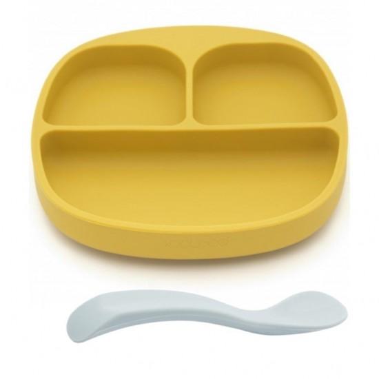 Set de masa silicon Curry - farfurie compartimentata cu ventuza si lingurita