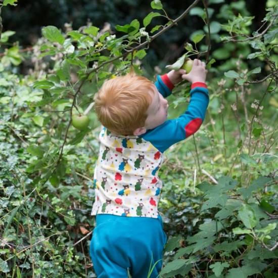 Bluzita din bumbac organic - Little Green Radicals - Midnight Blue Bear Necessities