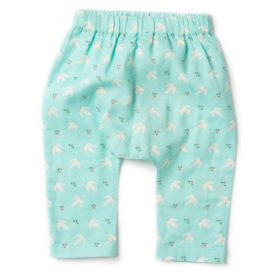 Pantaloni muselina din bumbac organic - Little Green Radicals - Flying Free Jelly Bean Joggers