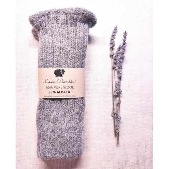 Mansete Oria pentru adulti - lana+baby alpaca - Lana Bambini - Grey