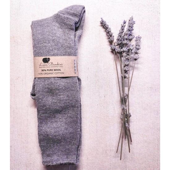 Sosete lungi Pia pentru copii - lana+bumbac organic - Lana Bambini - Grey