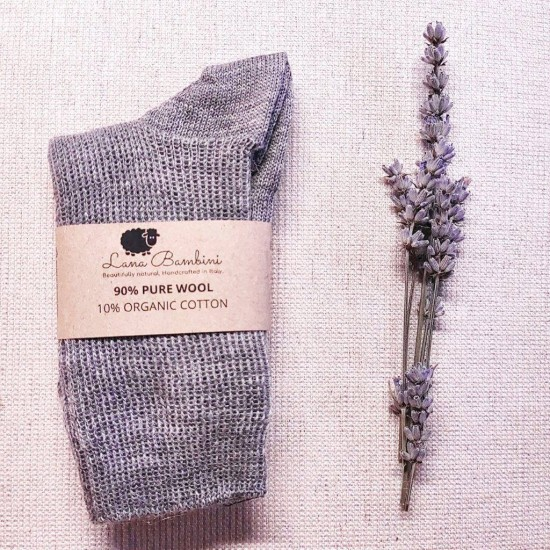Sosete medii Pia pentru copii - lana+bumbac organic - Lana Bambini - Grey
